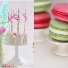 Fiesta de cumpleaños en verde y rosa.