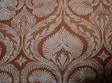 Peacock Silver on Rust Brasso Velvet - craftsman - upholstery fabric - Crewel Fabric World