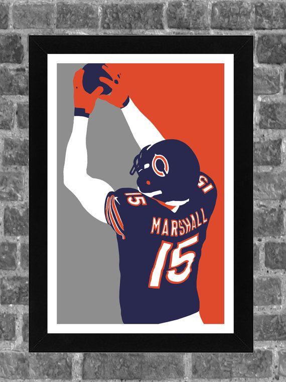 Chicago Bears Brandon Marshall Portrait Sports Print Art 11x17