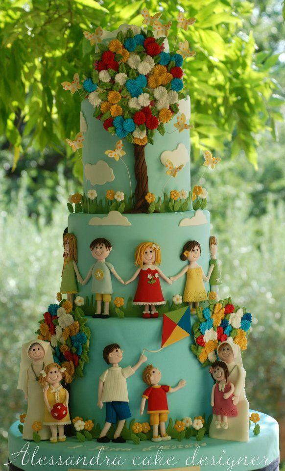 Cake Bambini by Alessandra cake designer -Studio CakeLittle People, Birthday Parties, Cake Design, Parties Cake, Cake Decor, Decor Cake, Children Cake, Awesome Cake, Cake Art