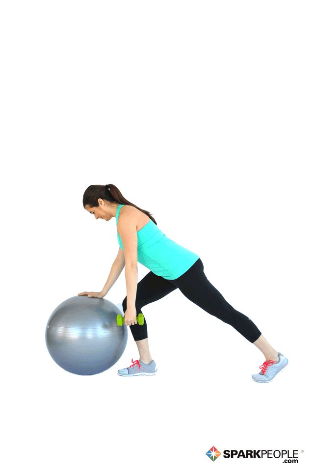 One-Arm Dumbbell Rows with Ball Exercise Demonstration via @SparkPeople