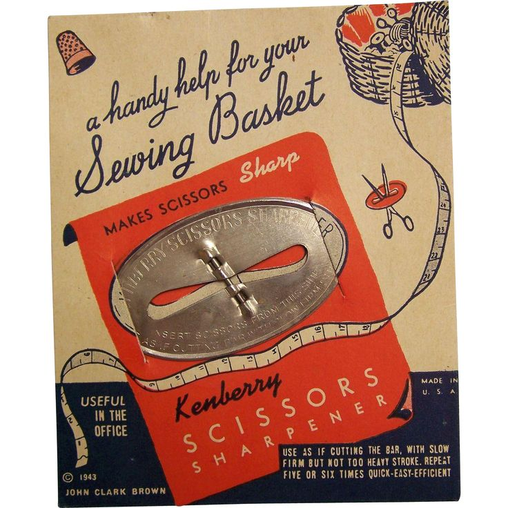 This Kenberry Scissors Sharpener on its original card (dated 1943 and made in USA).  It's quite a novelty or collectors item. Overall condition is