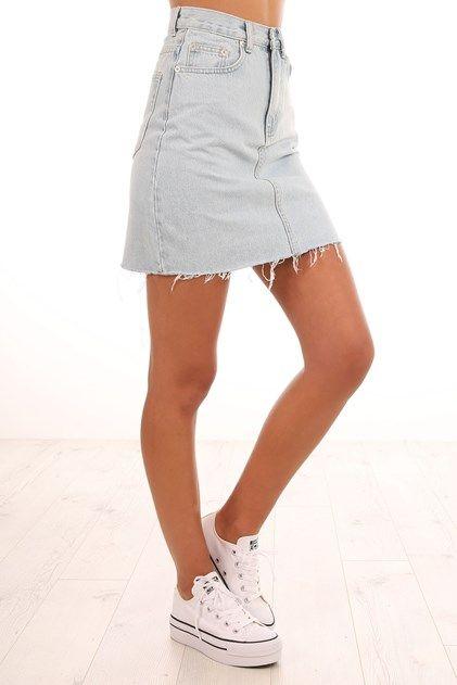 Rigid Fray Skirt Sea Blue