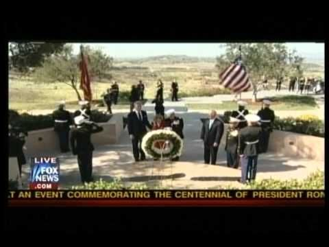 US Marine Cries During 21 Gun Salute to Ronald Reagan
