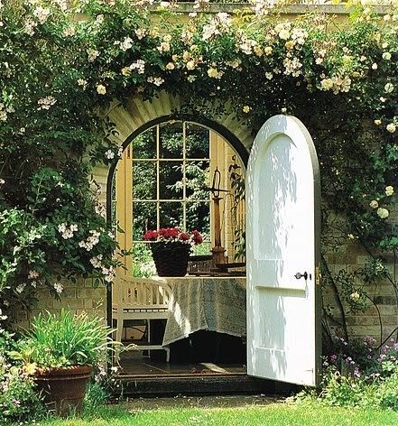 "iLove ""Old Doors"" ~ ""Would anyone like to join me for tea in this lovely garden getaway in Provence, France?"""