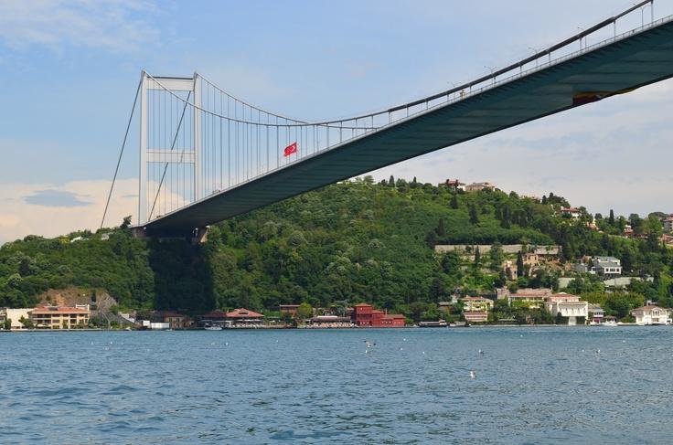 Bridge over the Bosphorus between Europe and Asia, Istanbul - Turkey April 2012