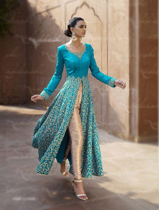Blue Bhagalpuri Designer Anarkali Suit 67963
