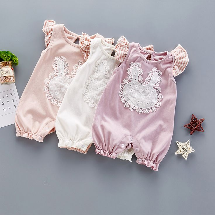 >> Click to Buy << Summer cute Style Baby Girls Romper Cotton Lace Vintage Short Sleeves Romper Kids Jumpsuit Girls clothes cartoon rabbit striped #Affiliate