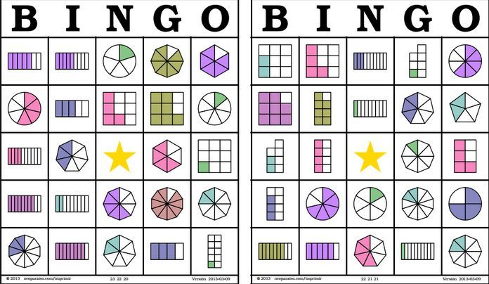 """¿Os animáis a aprender las fracciones jugando? Encontraréis cartones para jugar al """"Bingo de fracciones"""" si hacéis clic en el enlace que hay a continuación y las normas de juego hacien…"""