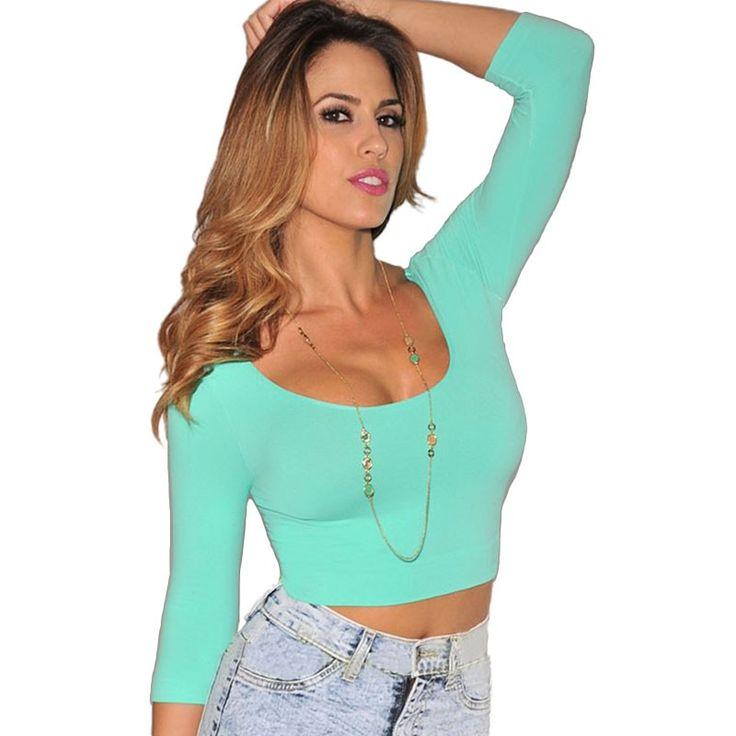 New Autumn long sleeve T shirt Women Black White Green Bodycon Shirts Short Tee Shirt Crop Top Casual T-shirt tops (2)