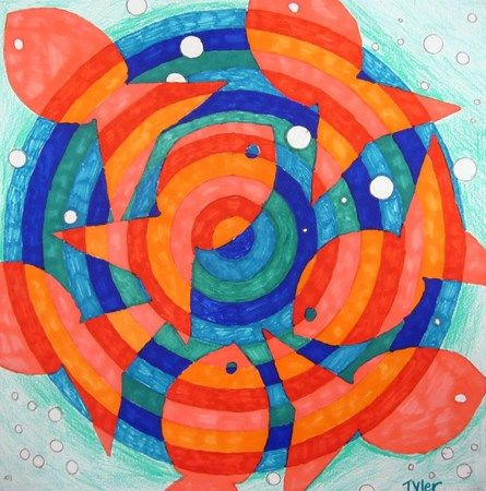 Different spin on warm & cool colors/line.  We usually do fall leaves, but the goldfish could be a good change.