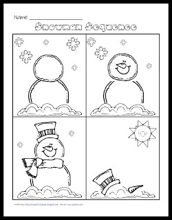 Snowman sequencing freebie.  I think this could make a good station-after the kids sequence their snowmen, they could write about each picture.