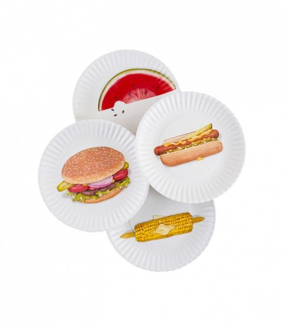 Picnic in the Park Food-Printed Picnic Plates - Set of 4