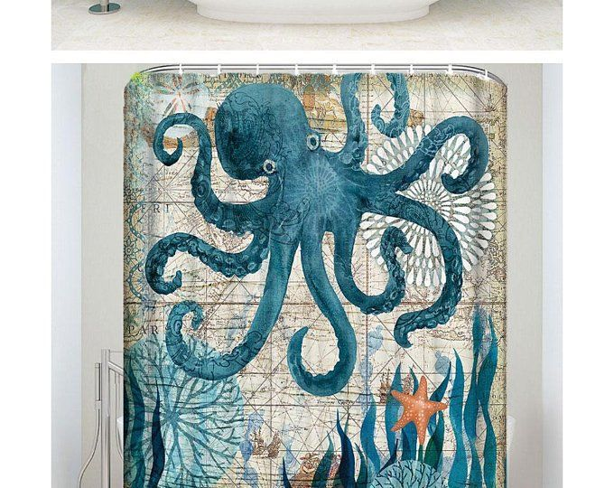 Octopus Shower Curtain Custom Size Waterproof Shower Curtain