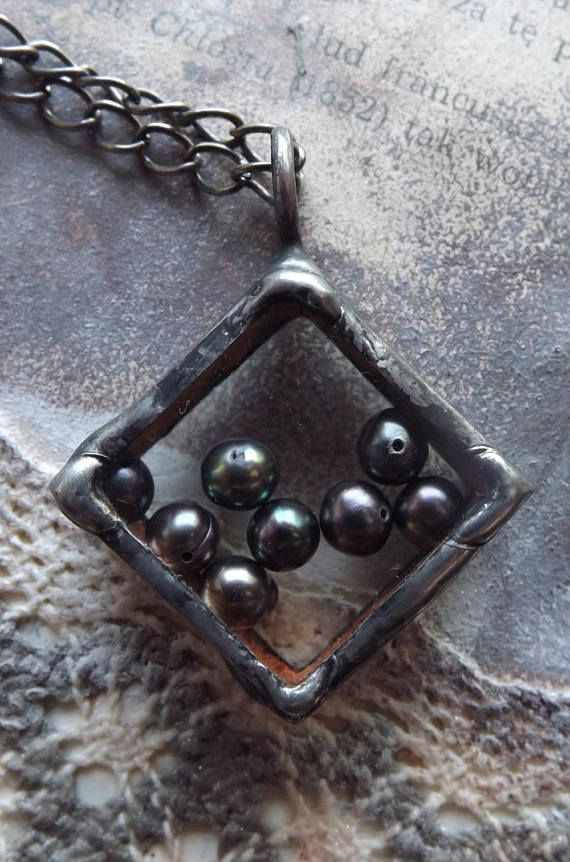 Square pendant with pearls. Cultured pearls. Graphite pearls.