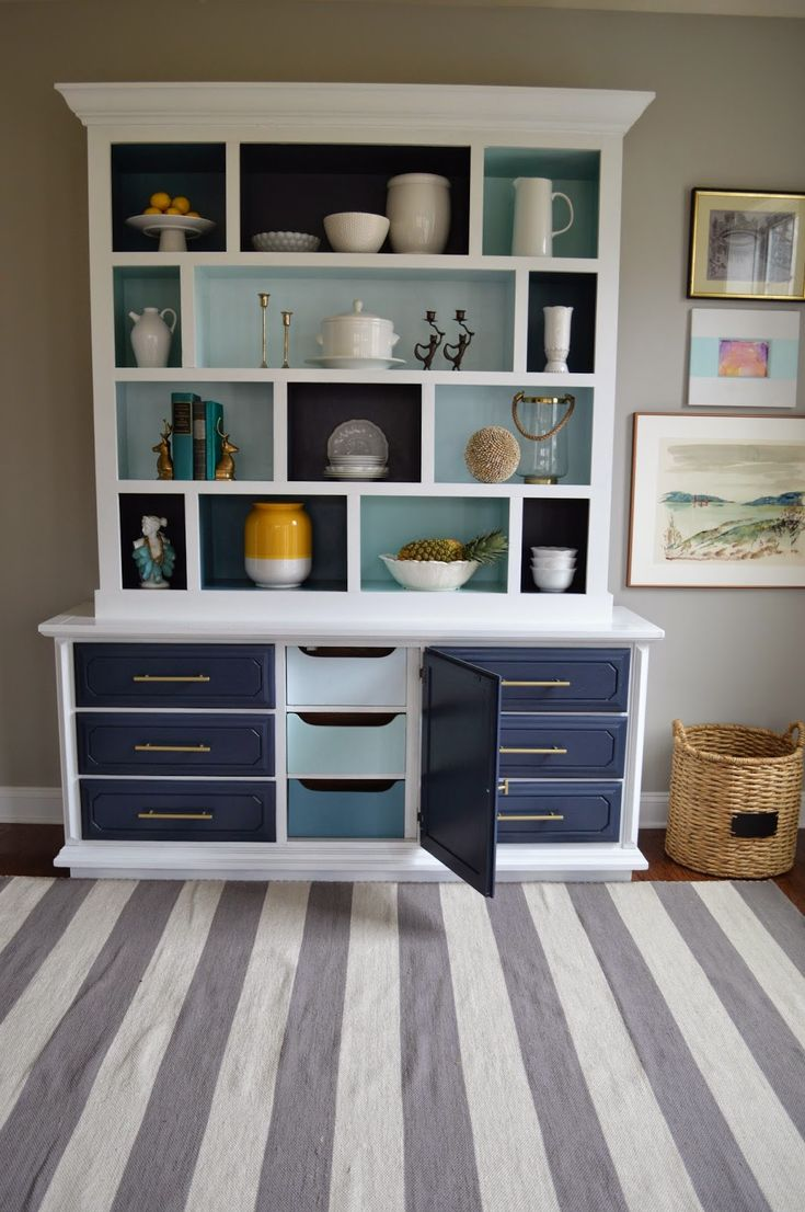 Right Up My Alley Tutorial DIY Color Block Hutch Benjamin Moore Hale Navy Dining Room HutchDecorating RoomsDecorating IdeasDecor