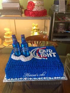 Bud light beer bottles beer birthday cake. Visit us Facebook.com/marissa'scake or www.marissascake.com