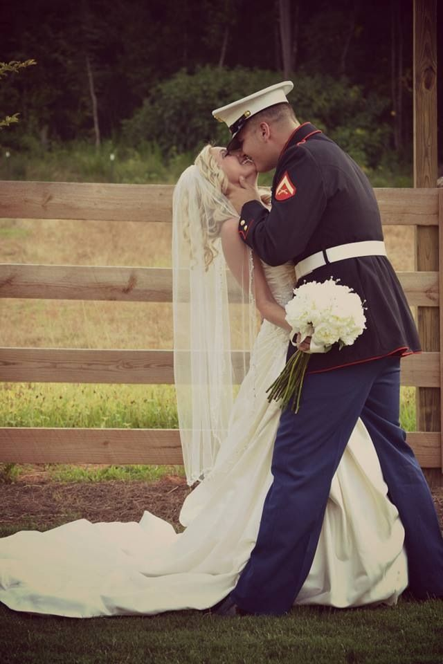 Credit to: Mandi B Photography country barn wedding outdoor reception military wedding marine wife dress blues