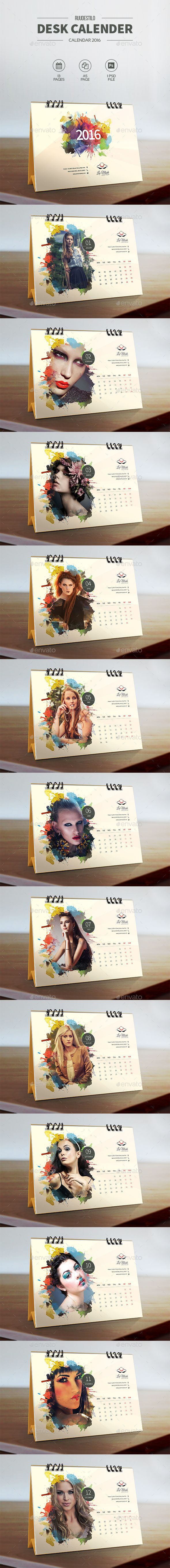 Desk Calendar 2016 Template PSD. Download here: http://graphicriver.net/item/desk-calendar-2016/14166030?ref=ksioks