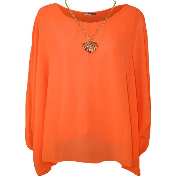 Nora Baggy Batwing Sleeve Necklace Top ($25) ❤ liked on Polyvore featuring tops, orange, layered tops, orange top, double layer top, summer tops and orange chiffon tops
