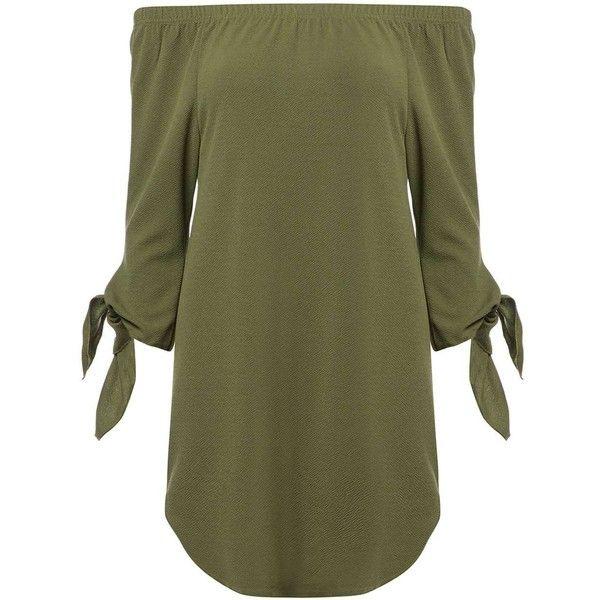 **Izabel London Khaki Cuffs Pocketed Dress ($29) ❤ liked on Polyvore featuring dresses, khaki, cuff dress, khaki green dress, pocket dress, khaki dress and izabel london