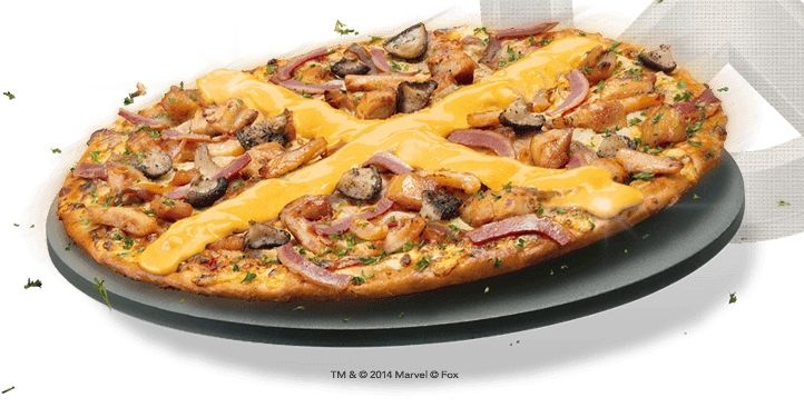 Pizza Hut Singapore promoted the X-Men movie by making the logo on a pizza out of what looks to be nacho cheese!