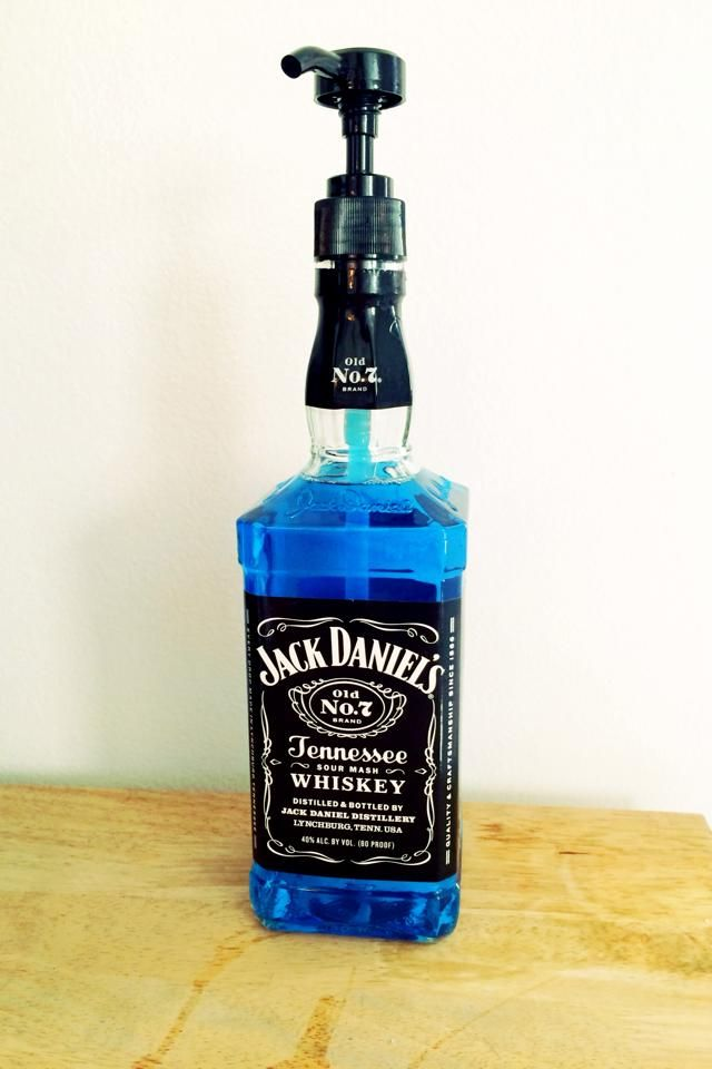 Soap Dispenser made with an old Jack bottle & a $3 pump from ULTA Beauty.