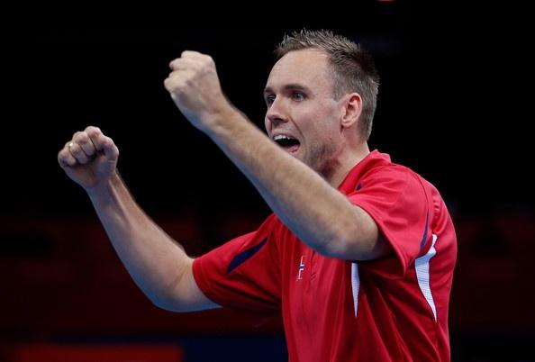 Tommy Urhaug of Norway celebrates winning his Men's singles