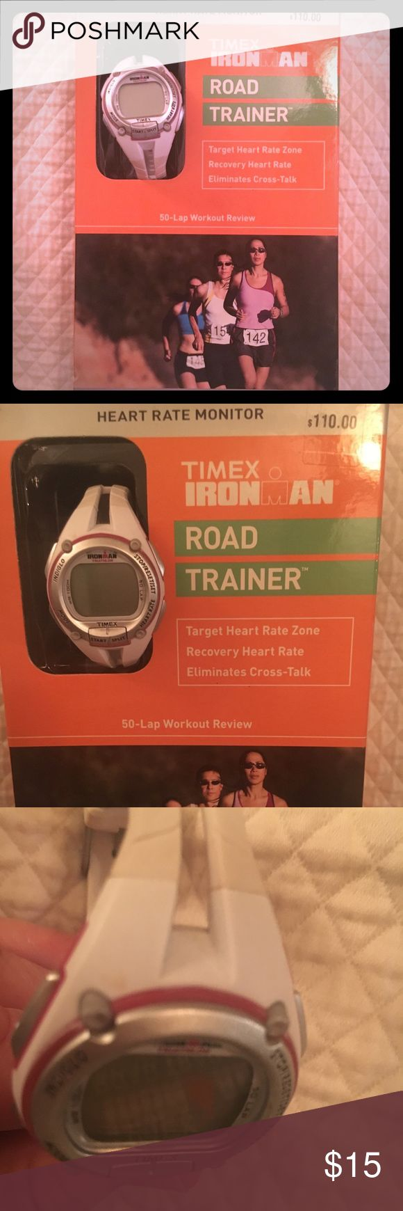 Timex Ironman RoadTrainer heart rate monitor+watch Timed Ironman Road Trainer running watch plus heart rate monitor strap. Still have box. Watch and monitor chest belt need batteries. Watch is women's size with smaller face white and cream color with pink:purple accents. Note there is a mark at top left and some scuffs. Priced accordingly. Please see pics timex Ironman Other #runningwatch