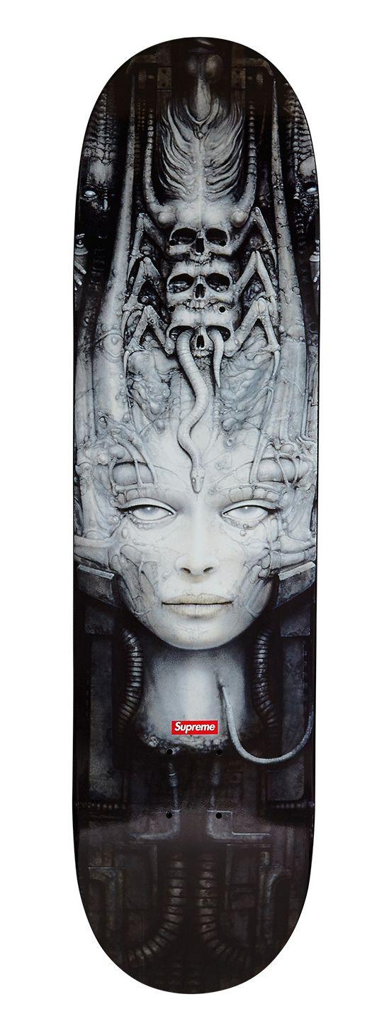 Hr giger tattoo designs - Giger Skateboard Original Artwork By H R Giger For Supreme