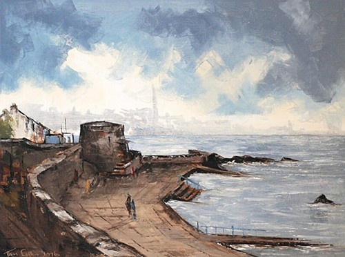 "Tom Cullen ""Martello Tower, Seapoint"" #oiloncanvas #sea #MartelloTower #DukeStreetGallery"