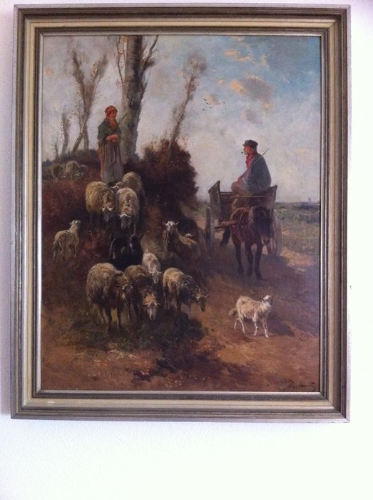 Henri Schouten (1864-1927) -Pastorella e contadino con il bestiame