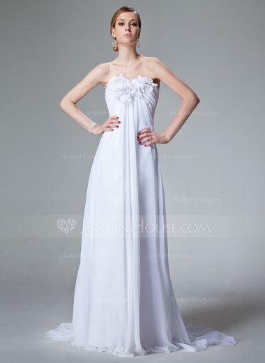 Empire Sweetheart Court Train Chiffon Wedding Dress With Ruffle Beading Flower(s) (002000679) - JenJenHouse