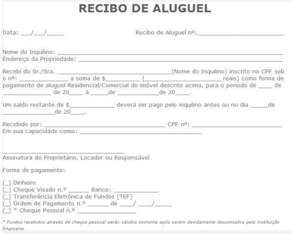 Recibo De Aluguel Modelo De Recibo De Aluguel Em Excel Recibo