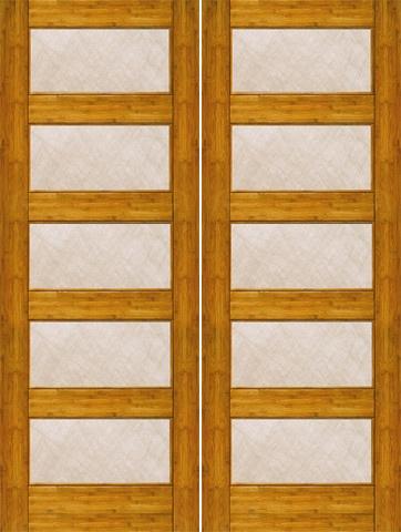 $820.00Prehung Slab Single Glazed Bamboo Bamboo Contemporary Modern 5 Lite  Interior Double Door 80 96