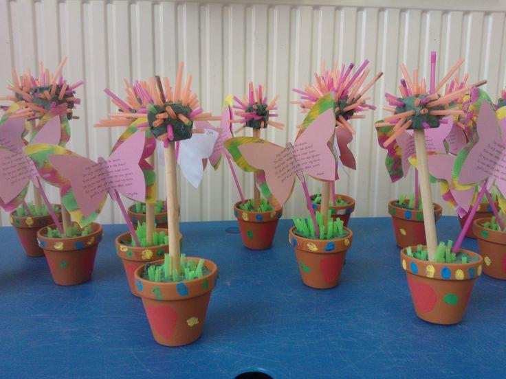 Dit jaar het cadeautje voor de grootouders. Potje versieren door een hartje te stempelen en stipjes te zetten met vingerverf. Rietjes laten knippen. Groene rietjes eruit laten zoeken en in steekschuim laten steken. Voor de bloem gebruiken de kleuters de rest van de rietjes.