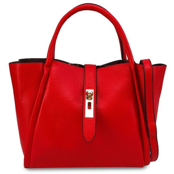 Unisa Unique Texture 2-In-1 Tote Bag Set with Turn Lock ($30) ❤ liked on Polyvore featuring bags, handbags, tote bags, red tote purse, tote hand bags, red tote, handbags totes and tote bag purse