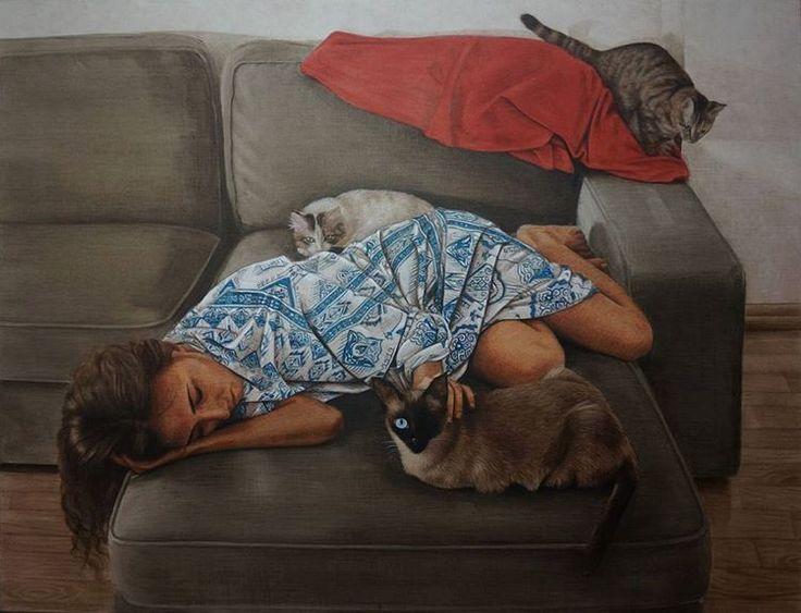 """73. Devlet Resim ve Heykel Yarışmasında Başarı Ödülü alan çalışmam; 👉""""Temas"""" 115×150 cm. Tuval üzerine yağlıboya, 2016 ✌💪  #temas #rugulserbest #ru #mu #paçi #yancı ve #sütlaç 😻 #resimyarismasi #ödül #artpainting #oilpainting #figurativearts #figurativepainting #composition #painter #color #red #blue #artcomposition #art #artist #artwork #selfportrait #cats #catspainting #animals #award"""
