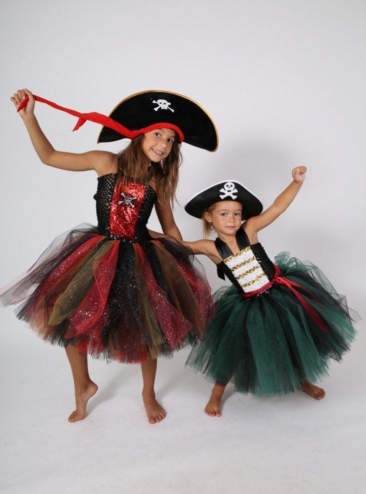 Quatang Gallery- Deguisement Pirate Fille Robe Tutu En Tulle Souple Bustier Adaptable Costume Halloween Carnaval Jour De Robes Tutu Deguisement Pirate Fille Tutu En Tulle