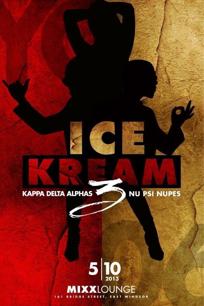 """Alpha Phi Alpha-Kappa Alpha Psi """"Ice Kream"""" party flyer"""