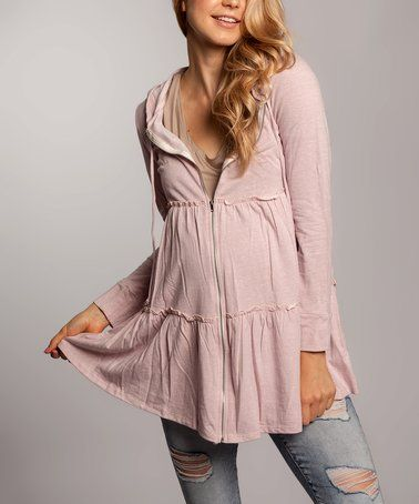 Another great find on #zulily! Dusty Pink Tiered Maternity Zip-Up Hoodie by Chris & Carol Maternity #zulilyfinds