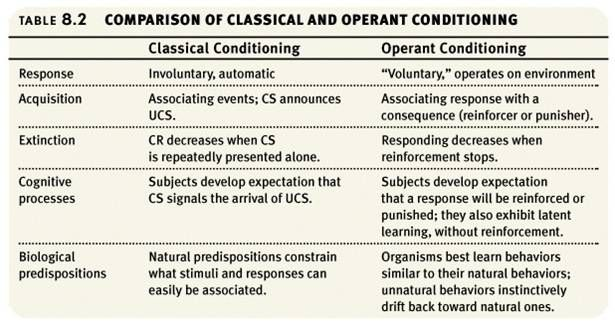 classical conditioning operant conditioning essay In classical conditioning the organism learns to associate new stimuli with natural , biological responses such as salivation or fear the organism does not learn.