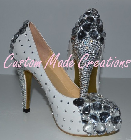 These gorgeous shoes will have you stopped in the street.     'Simone'  is shown in a 4 inch heel pump style shoe.    Crystal colours shown are 32.         Want your very own custom pair created just for you?         Contact us with your special requirements & we will do our best to accommodate your needs.         OUR SHOES ARE COMPLETELY CUSTOMISABLE
