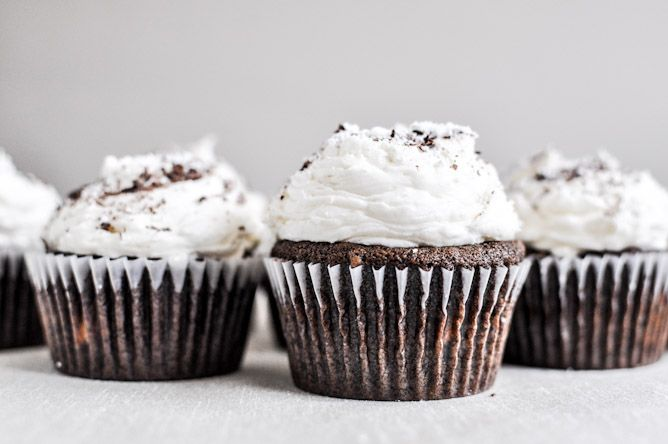 Kahlua and Cream Double Chocolate Chunk Cupcakes by @How Sweet Eats