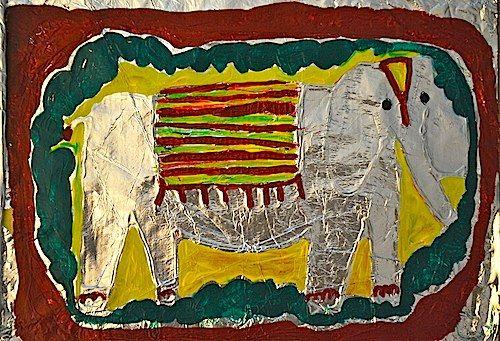gorgeous asian elephant craft (cardboard on glue+foil+paint)