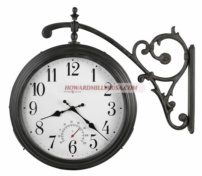 625-358 Howard Miller Weather & Maritime - Indoor-Outdoor clocks.625358 Luis        This attractive double sided wall clock is designed for indoor or outdoor use. A thermometer located above the six position indicates the temperature in F.      The antique iron-finished, powder-coated case is zinc plated and includes stainless steel screws to inhibit rusting. Three rubber seals protect the inside of the clock from inclement weather.Quartz, battery operated movement