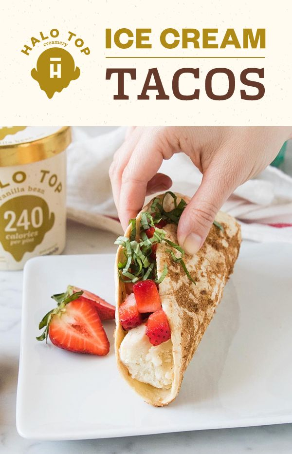 These Halo Top Ice Cream Tacos are made with pancakes, so you can totally get away with eating them for breakfast! At just 240 calories per pint of Halo Top Vanilla Bean, you won't even have to feel guilty about reaching for that second taco! Find the full recipe on our website.