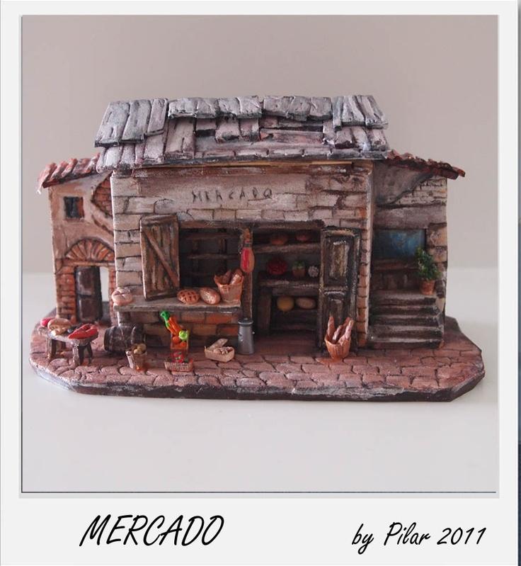 Miniatura mercado en foam, fimo y acrílicos #navidad