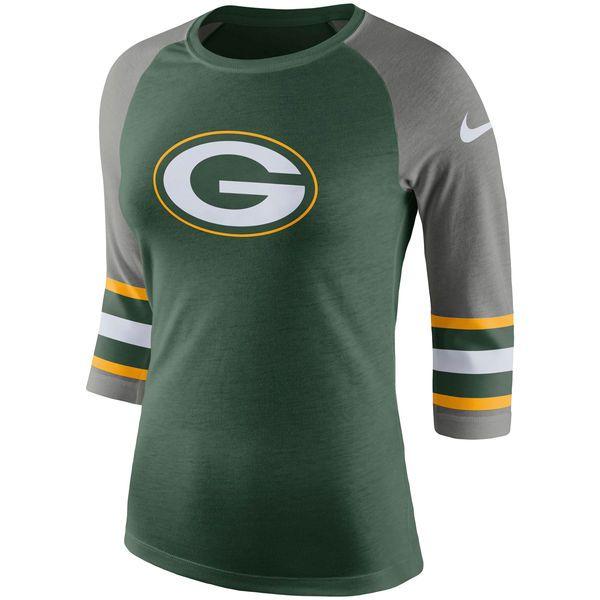 low priced 2cad6 b2999 Women's Green Bay Packers Nike Green Stripe 3/4-Sleeve ...