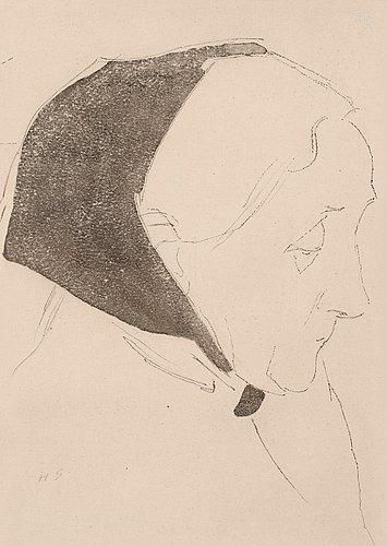 Helene Schjerfbeck - Woman with a black head-scarf...